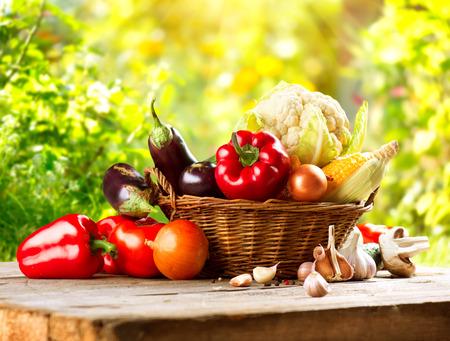 cocineras: Fresh vegetal org�nico Bio en una cesta sobre la naturaleza de fondo Foto de archivo
