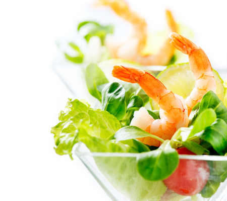 Shrimp or Prawn Cocktail  Isolated on a White Background photo