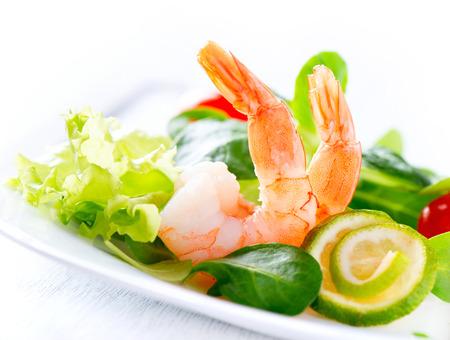 Prawn salad  Healthy shrimp salad with mixed greens Reklamní fotografie