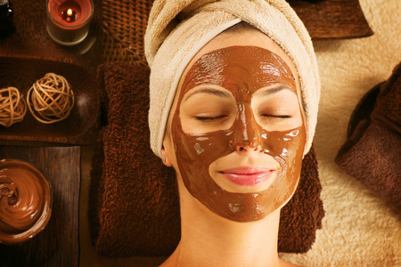 Chocolate Luxury Spa  Facial Mask  Day Spa Treatment Stock Photo