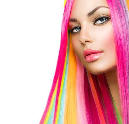 Colorful Hair and Makeup  Beauty Model Girl with Dyed Hair Stock Photo - 30138193