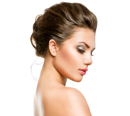 chicas guapas: Mujer hermosa joven con la piel fresca limpia