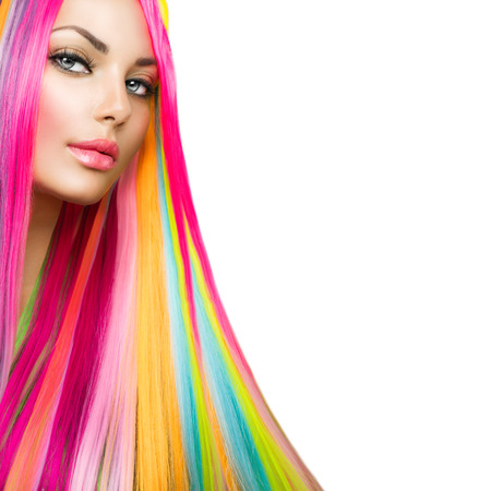 colorido: Colorful Hair and Makeup Beauty Girl Modelo con Cabello de Foto de archivo
