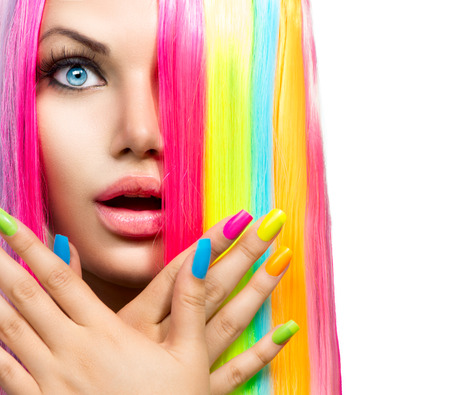 Beauty Girl Portrait with Colorful Makeup, Hair and Nail polish 스톡 콘텐츠