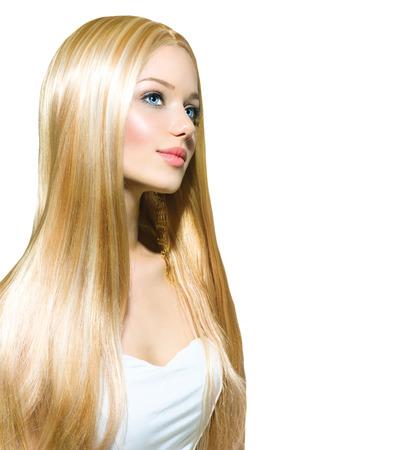 secador de pelo: Chica rubia hermosa aislado en un fondo blanco Foto de archivo