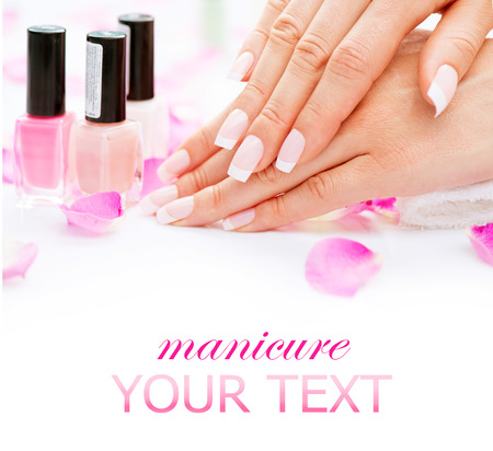 Manicure and hands spa  Beautiful woman hands closeup Reklamní fotografie - 30436224