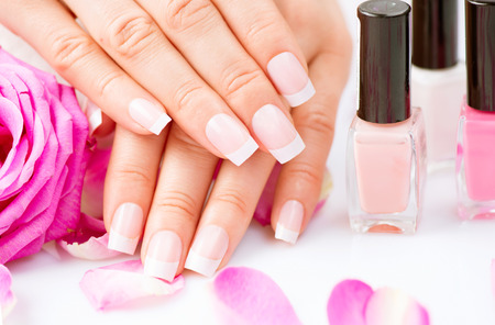Manicure and hands spa  Beautiful woman hands closeup photo