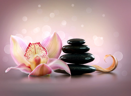 spa: Spa Stones and Orchid Flower. Stone Massage