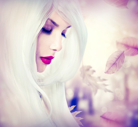 Fantasy autumn girl with long white hair photo