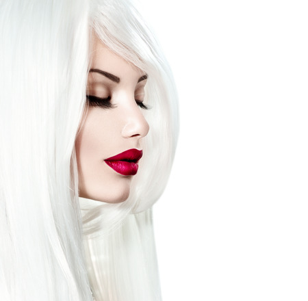 coloring lips: Portrait of beauty model girl with white hair and red lipstick
