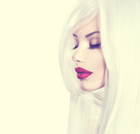 Beauty model girl with white hair and red lipstick