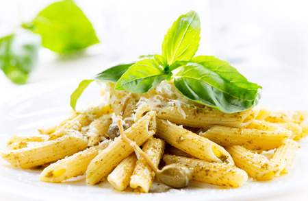 Pasta. Penne Pasta with Pesto Sauce. Italian Cuisine photo