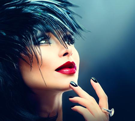 ojos azules: Arte de la moda de la hermosa niña. Vogue Mujer del estilo
