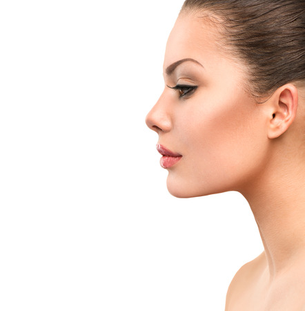 female face closeup: Beautiful Profile Face of Young Woman with Clean Fresh Skin
