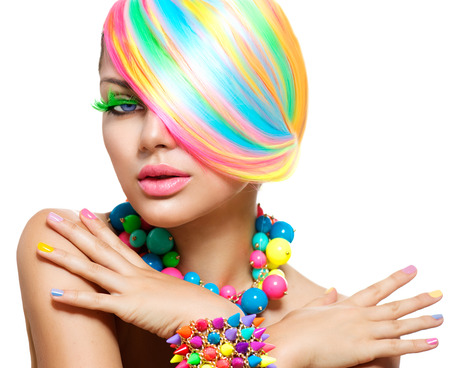 vibrant colours: Beauty Girl Portrait with Colorful Makeup, Hair and Accessories Stock Photo