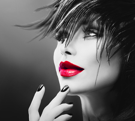 red lips: Fashion Art Portrait Of Beautiful Girl. Vogue Style Woman