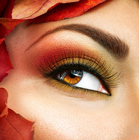 Autumn make up for brown eyes. Closeup fashion makeup photo
