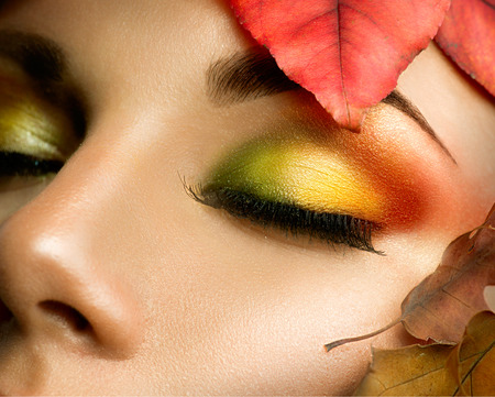 Autumn eye make-up. Closeup fashion makeup
