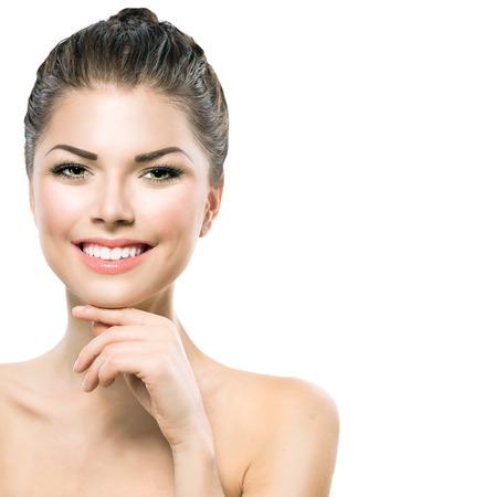 model nice: Beautiful Spa Girl Touching her Face. Perfect Fresh Skin