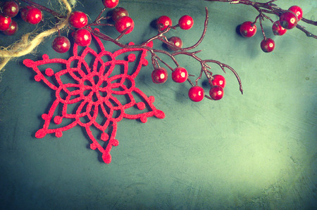 christmas decorations: Christmas vintage background. Old styled shabby card design Stock Photo