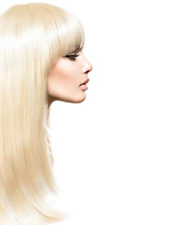 profil: Blond włosów. Blond piękna dziewczyna z długimi lśniące włosy gładkie Zdjęcie Seryjne