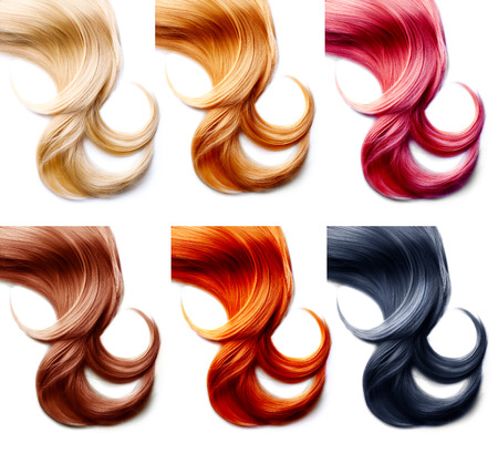 hair: Hair palette. Hair Colors Set isolated on white background Stock Photo