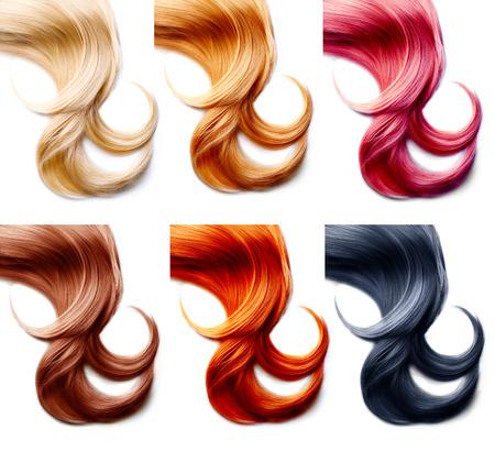 cabello: Paleta pelo. Colores de pelo conjunto aislado sobre fondo blanco