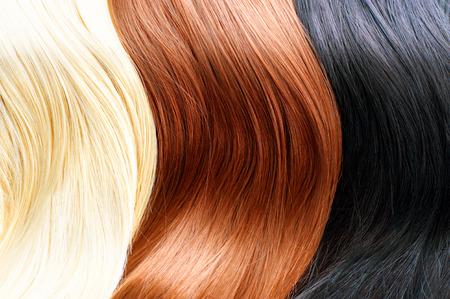 capelli lisci: Tinture per capelli tavolozza. Colori dei capelli biondi, marrone e nero Archivio Fotografico