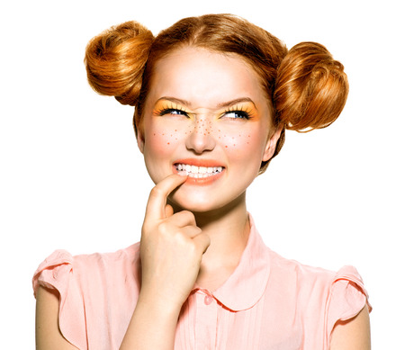 pensando: Beleza modelo Retrato do adolescente. Emoções Banco de Imagens