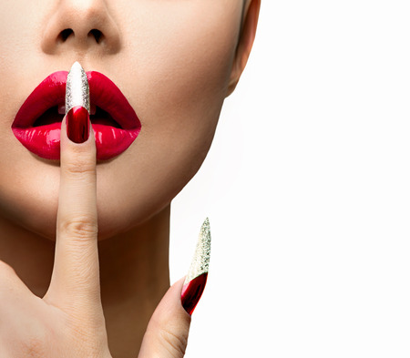 manicure: Fashion Model Girl Face. Beautiful Sexy Lips. Nail Art Stock Photo