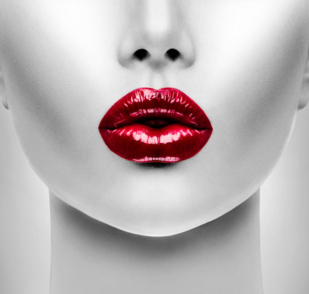 lip kiss: Sexy Red Lips. Beauty Model Woman\