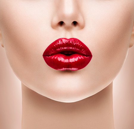 lip kiss: Sexy Red Lips. Beauty Model Womans Face closeup Stock Photo