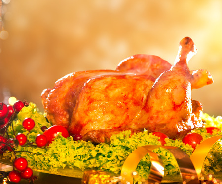 thanksgiving dinner: Christmas table setting with roasted turkey Stock Photo