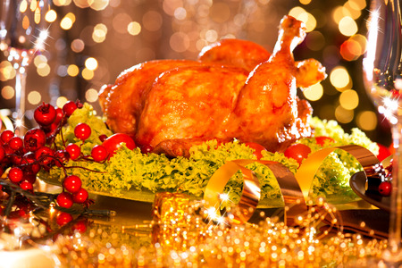 thanksgiving day: Christmas table setting with roasted turkey Stock Photo