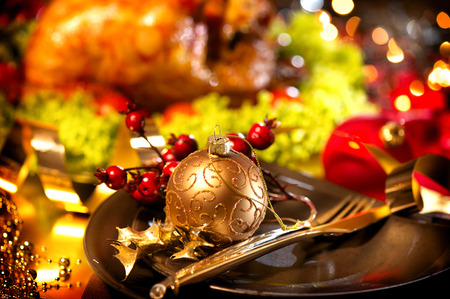 christmas party: Christmas table setting with turkey. Holiday Christmas dinner Stock Photo