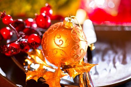 comida de navidad: Arreglos de mesa de Navidad. La cena de vacaciones de Navidad