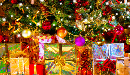 christmas scene: Holiday Christmas scene. Gifts under the Christmas tree