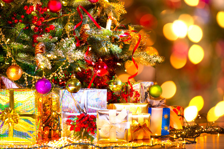 Holiday Christmas scene. Gifts under the Christmas tree