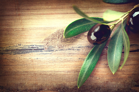 design: Olive over wood. Olives branch on the wooden table Stock Photo