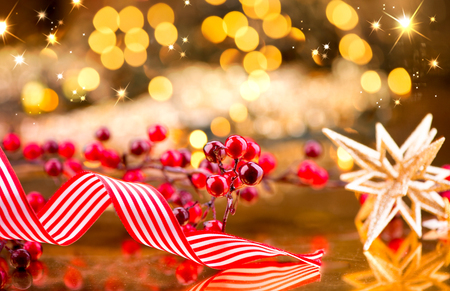 x mass: Christmas decorations over golden background Stock Photo