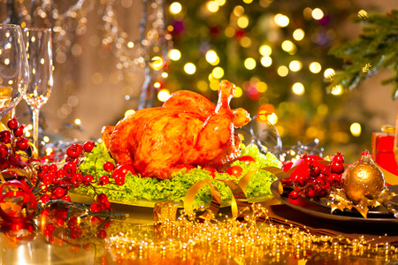 dinner table: Christmas table setting with turkey. Christmas dinner