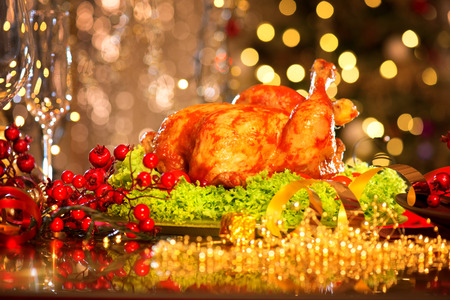 party tray: Christmas table setting with turkey. Christmas dinner