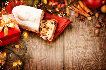 stollen: New Year border design. Stollen. Traditional sweet fruit loaf