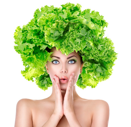Surprised girl with green Lettuce hairstyle. Dieting concept Stok Fotoğraf - 35403198