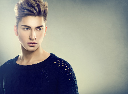 hair studio: Fashion young model man portrait. Handsome guy
