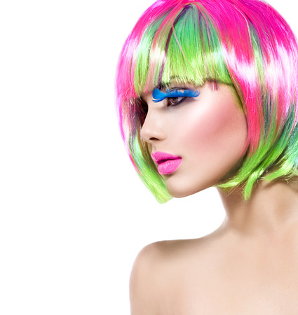 Beauty fashion model girl with colorful dyed hair Stock Photo