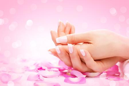 아름다움: 손 스파. 잘 손질 된 여성의 손, 부드러운 피부, 아름다운 손톱