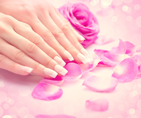 manicured: anicure, Hands spa. Female hands, soft skin, beautiful nails Stock Photo