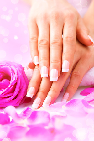 manicured: Manicure, Hands spa. Female hands, soft skin, beautiful nails Stock Photo