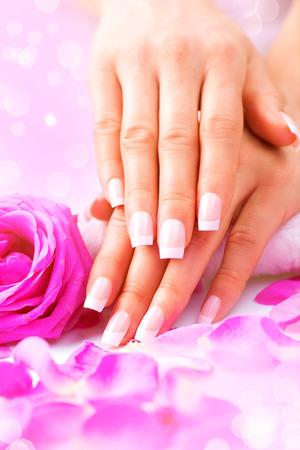 Manicure, Hands spa. Female hands, soft skin, beautiful nails Archivio Fotografico
